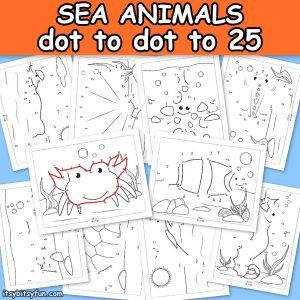 Ocean Animals Dot to Dot Worksheets