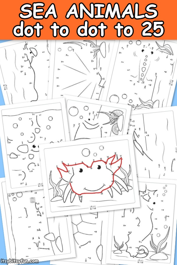 Sea Animals Dot to Dot Worksheets for Kids. 10 connect the dots worksheets to 25.