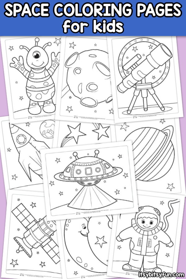Space Coloring Pages for Kids. 10 free printable space themed coloring pages for kids.