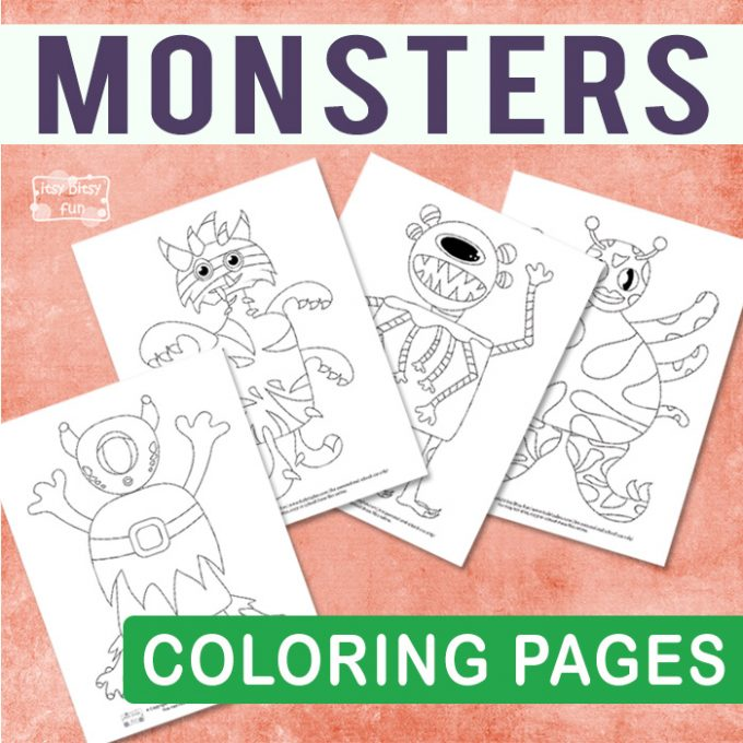 Monsters coloring pages for kids.