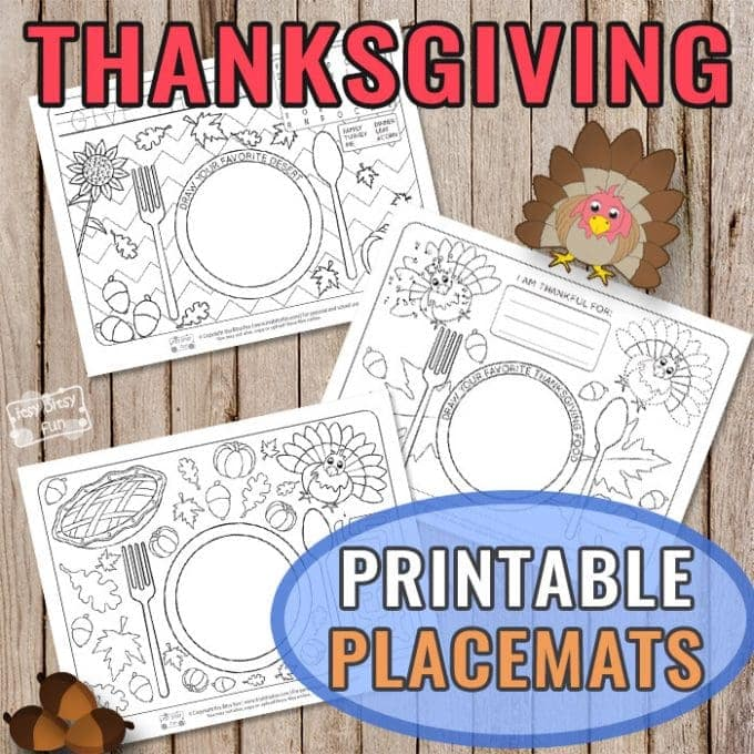 Thanksgiving coloring placemats for kids.