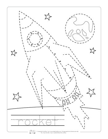 Space rocket tracing printable.