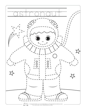 Astronaut tracing printable.
