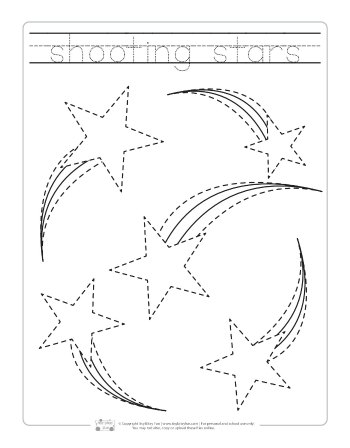 Shooting stars tracing printable.