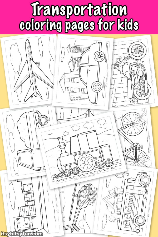 Transportation coloring pages for kids. 10 free coloring pages to keep the kids busy.