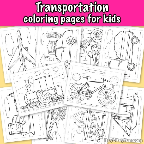 Transportation coloring pages for kids.