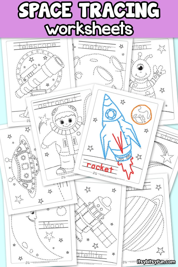 10 Free Space Tracing Worksheets for Kids.