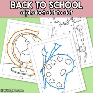 Back to School Alphabet Dot to Dot Worksheets for Kids