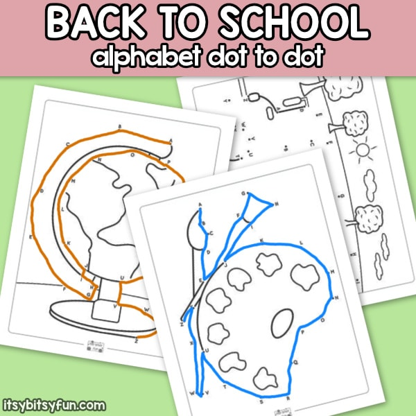 Back to School Alphabet Dot to Dot Worksheets for Kids
