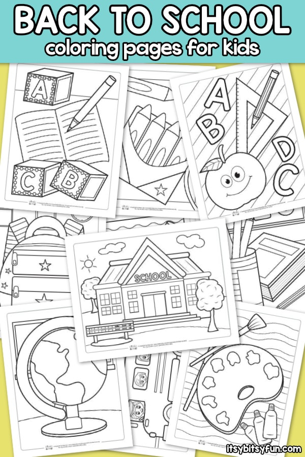 Back to School Coloring Pages for Kids. 10 free printable coloring pages for kids to have fun with.