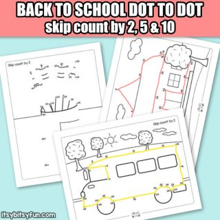 Back to School Dot to Dot Skip Counting Worksheets – by 2s, by 5s and by 10s