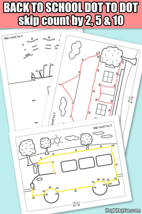 Back to School Dot to Dot Skip Counting Worksheets - by 2s, by 5s and by 10s