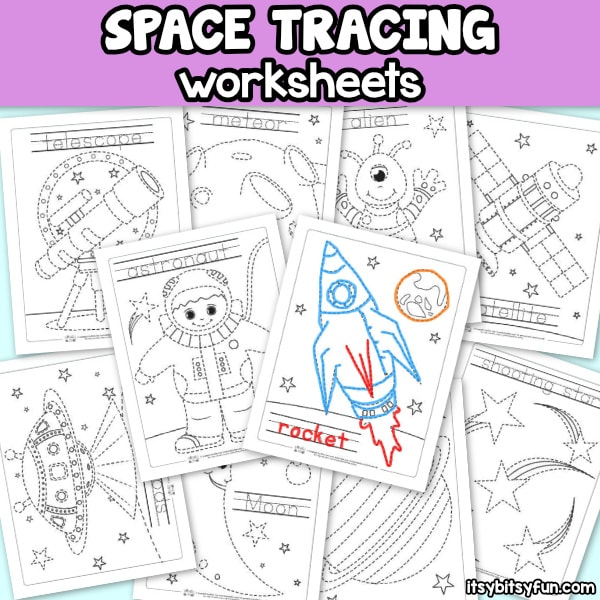 Space Tracing Worksheets for Kids.