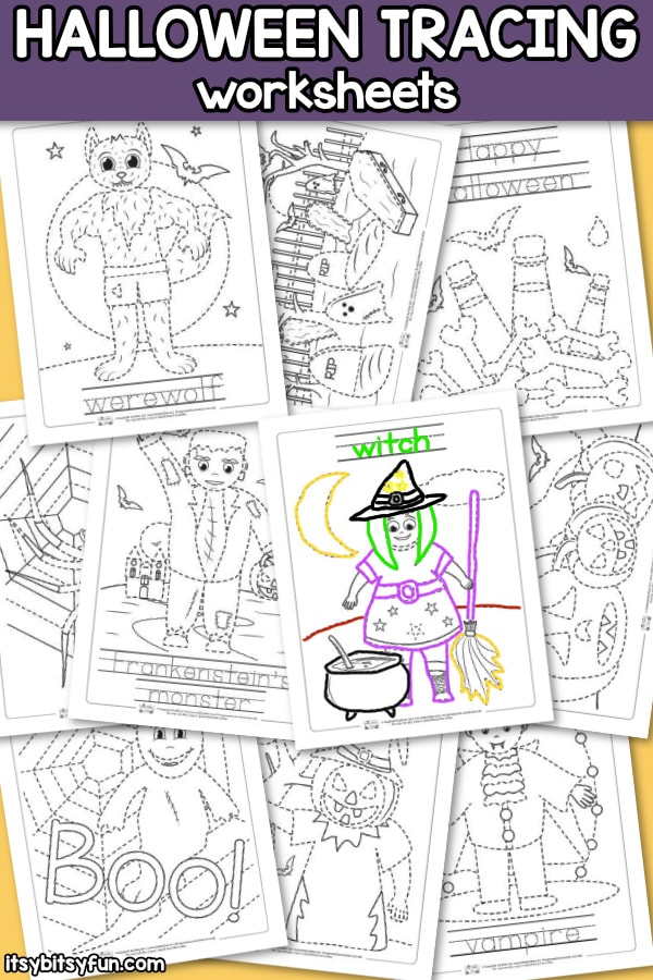 Halloween Tracing Worksheets - Itsy Bitsy Fun
