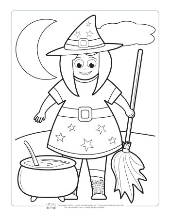Witch coloring page for kids.
