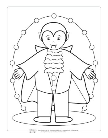 Vampire coloring page for kids.