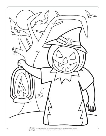 Jack O'Lantern coloring page for kids.