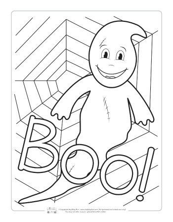 Ghost coloring page for kids.