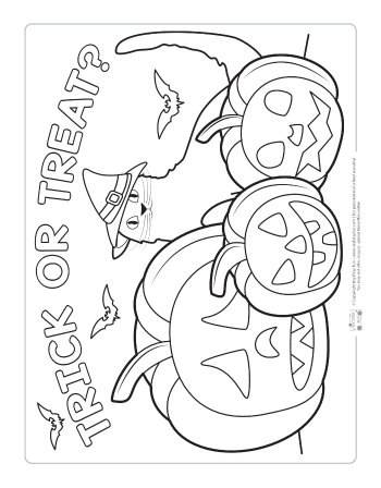 Trick or treat coloring page for kids.