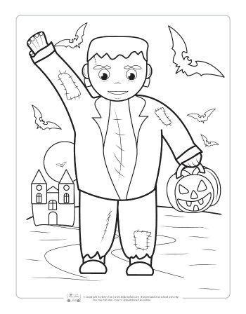Frankenstein's monster coloring page for kids.