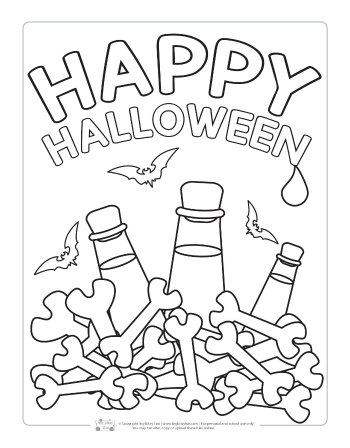 Happy Halloween coloring page for kids.
