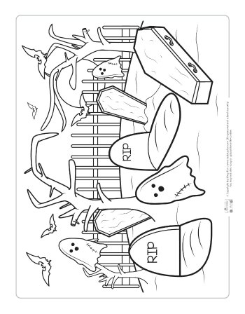 Cemetery coloring page for kids.
