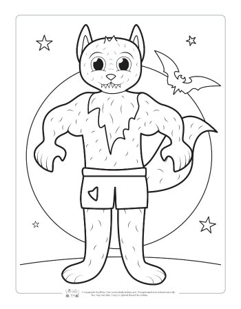 Werewolf coloring page for kids.