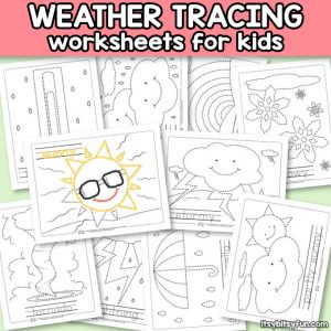 FREE Weather tracing worksheets for kids.