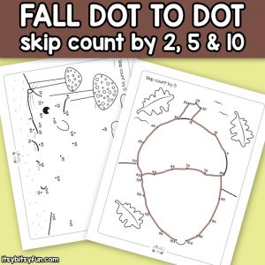 Fall Dot to Dot Skip Counting Worksheets – by 2s, 5s and by 10s