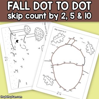 Fall Connect the Dots Skip Counting Worksheets