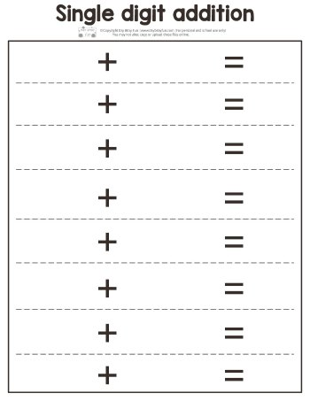 Fall Single Digit Addition Worksheet Blank Page
