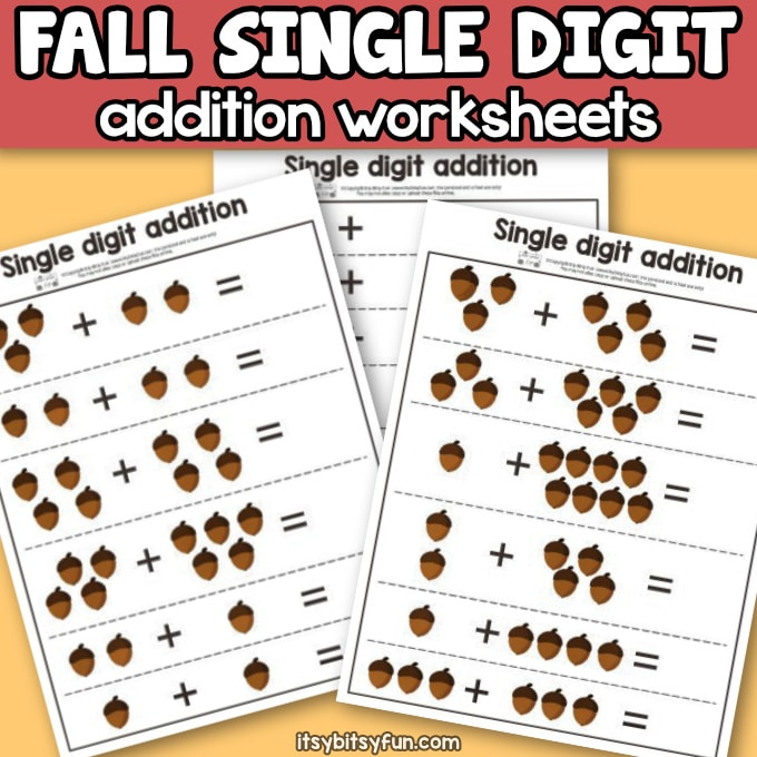 Fall Single Digit Addition Worksheets