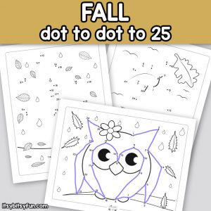 Fall Dot to Dot Worksheets – counting to 25
