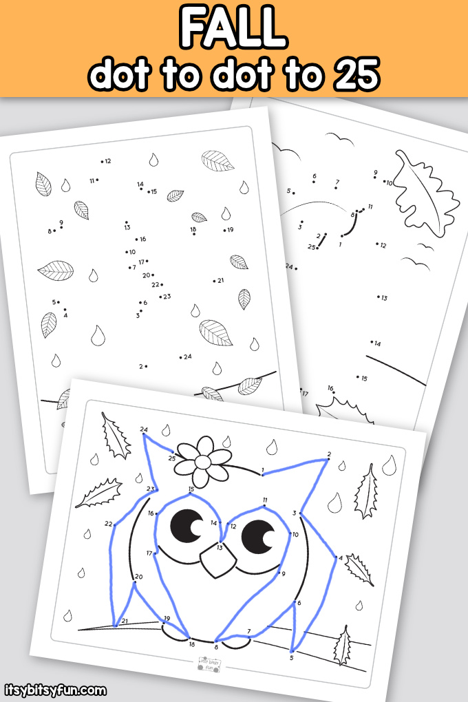 Fall Dot To Dot Worksheets - Counting To 25 - Itsybitsyfun.com