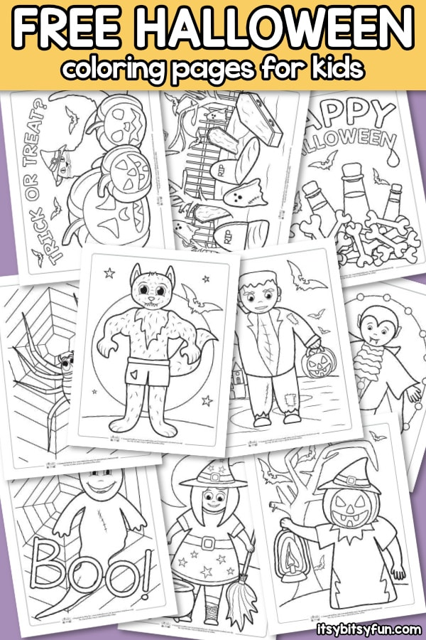 Halloween Coloring Pages for Kids. 10 free printable coloring pages to keep the kids busy.