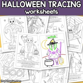 Halloween Tracing Worksheets for Kids