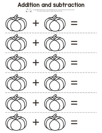 Pumpkin Addition and Subtraction Worksheet