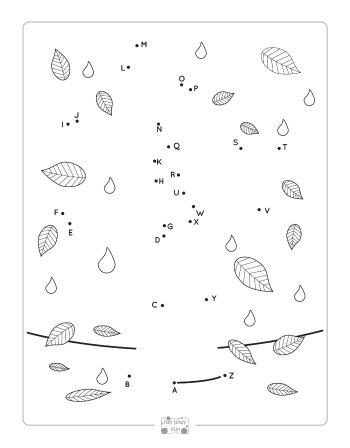 Fall Tree Alphabet Dot to Dot Worksheets