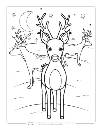 Christmas Santa Reindeer Coloring Pages Stock Illustration ... | 448x350