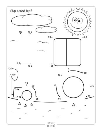 Tractor Dot to Dot Skip Counting Worksheet