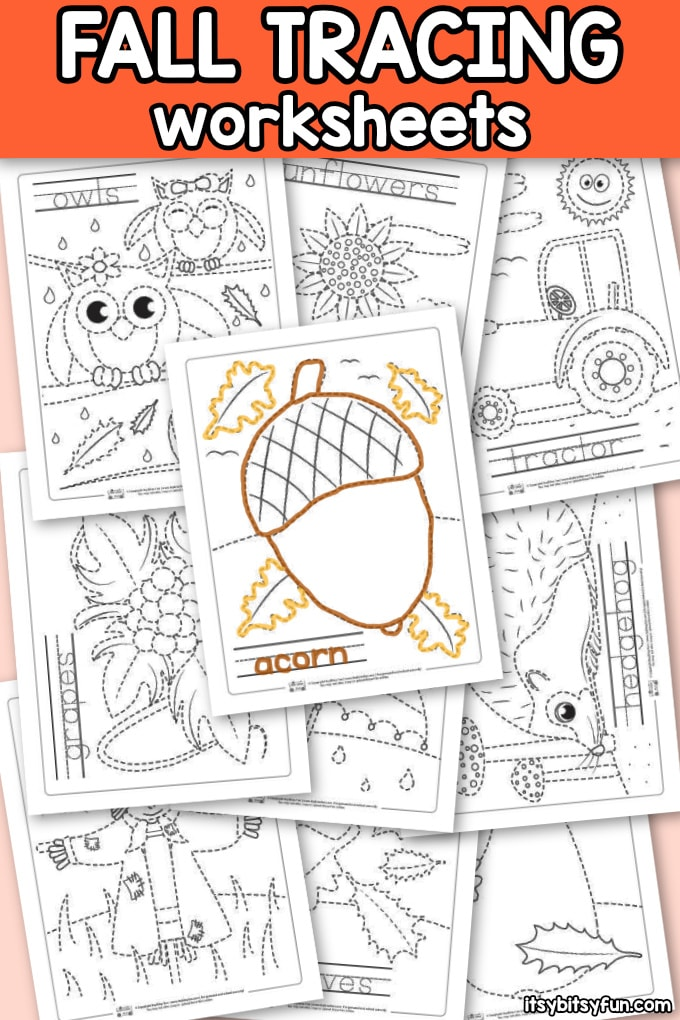 Fall Tracing Worksheets for Kids