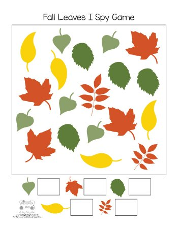 Free Printable Fall Leaves I Spy Game Page 1