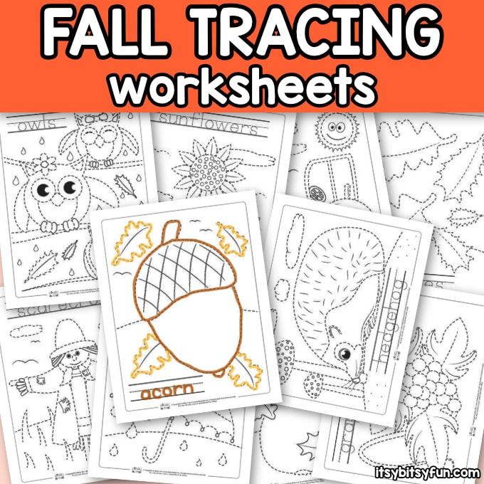 Free Fall Tracing Worksheets for Kids