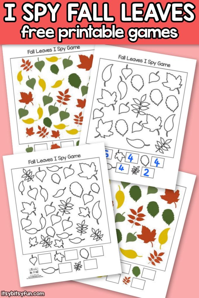 Free Printable Fall Leaves I Spy Games for Preschool and Kindergarten
