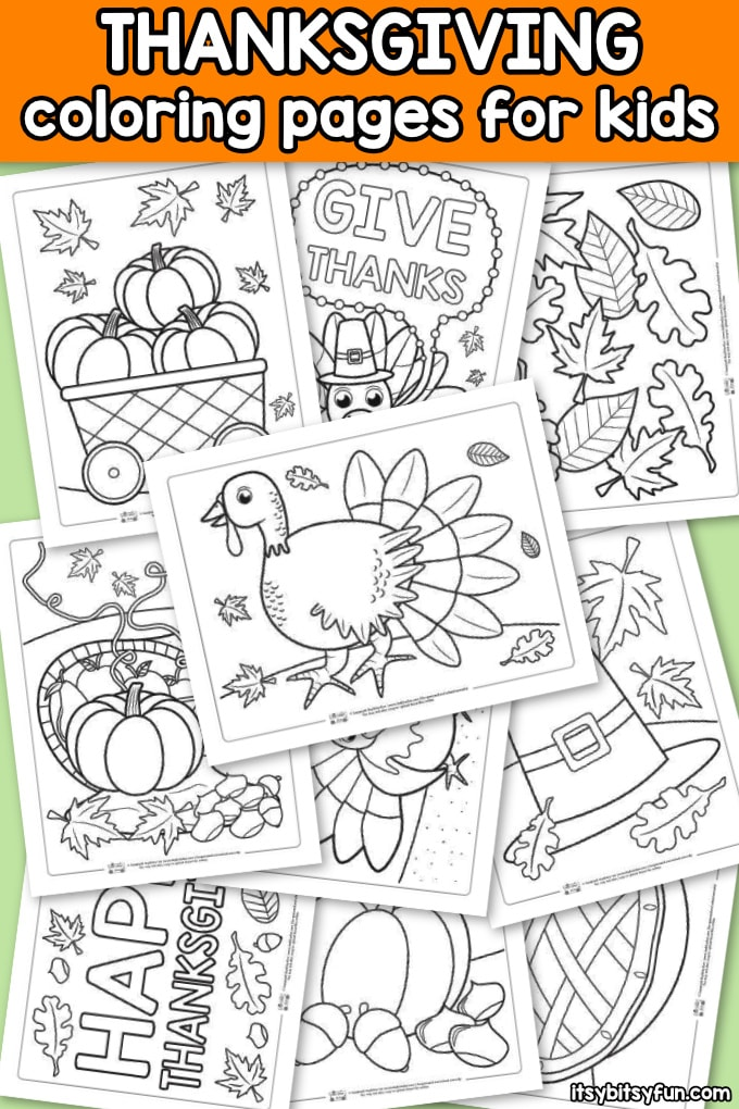 Thanksgiving Coloring Pages for Kids. 10 free coloring pages to keep the kids busy and entertained.