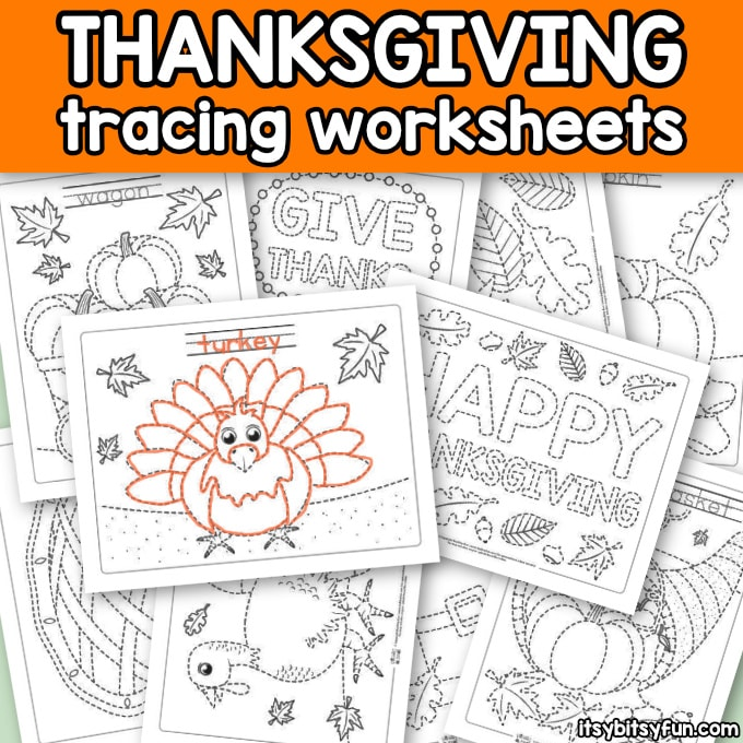Thanksgiving Printable Tracing Worksheets