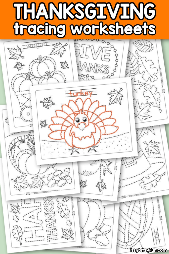 Thanksgiving Tracing Worksheets for Kids