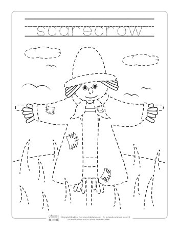 Fall Tracing Worksheets for Kids.