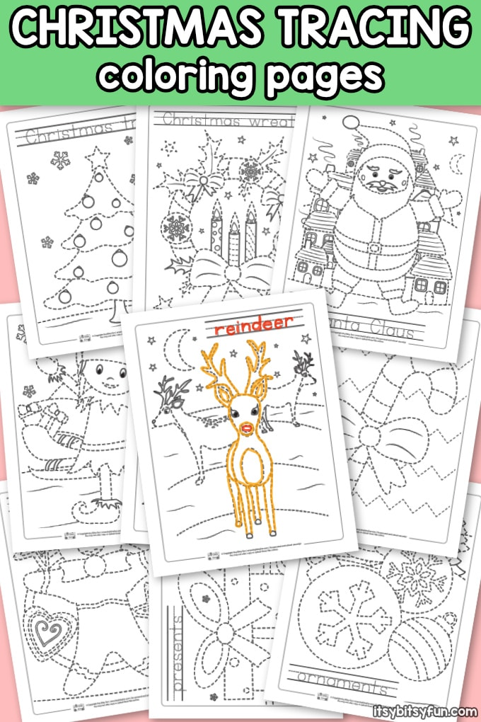 10 Free Christmas Tracing Coloring Pages for Kindergarten