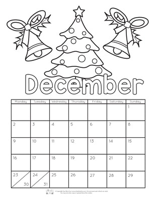 photograph about Printable Coloring Calendar identify Printable Calendar for Little ones 2019 - Itsy Bitsy Enjoyment